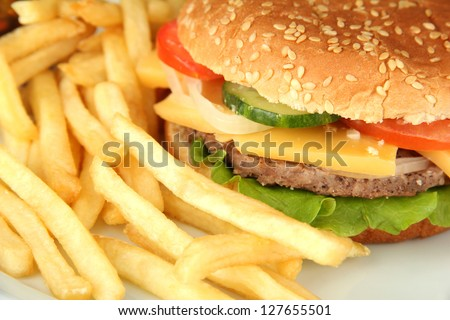 Tasty cheeseburger with fried potatoes, close up - stock photo