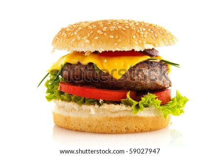 Tasty cheeseburger with vegetables and bread roll - stock photo