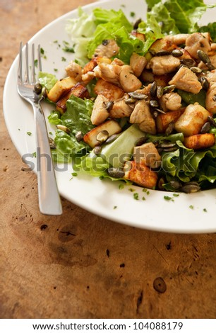 Tasty chicken salad with pumpkin seeds and cheese. - stock photo