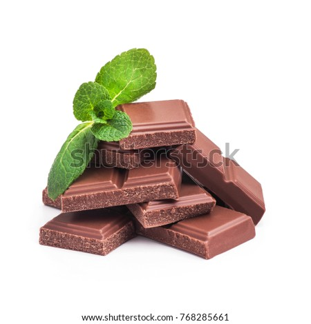 tasty chocolate bar with green mint isolated on a white background