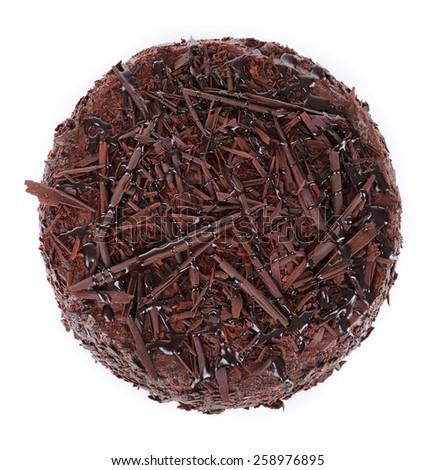 Tasty chocolate cake isolated on white - stock photo