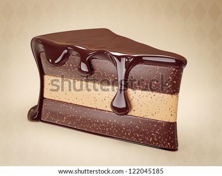 tasty chocolate cake on a light background - stock photo