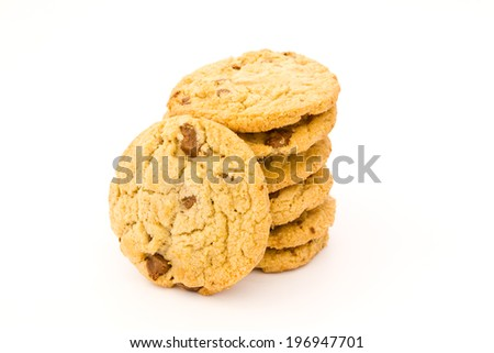 Tasty Chocolate chip cookies on a white background. - stock photo