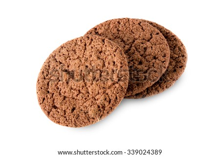 Tasty chocolate cookies isolated on white background, close-up. - stock photo