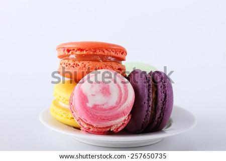 tasty colorful macarons  - stock photo