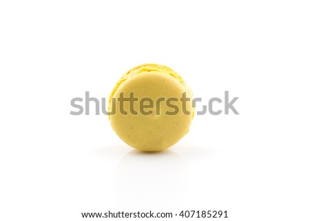 Tasty colorful macaroon isolated on white background