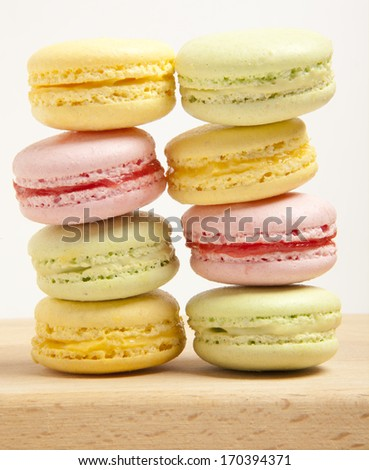 Tasty colorful macaroon isolation on a white background