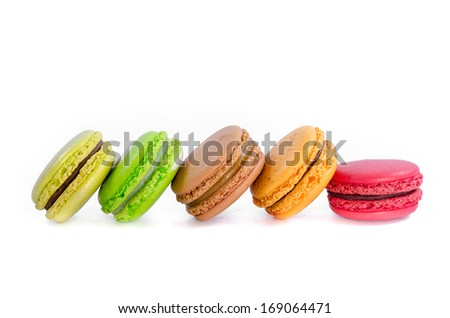 Tasty colorful macaroon on white background - stock photo