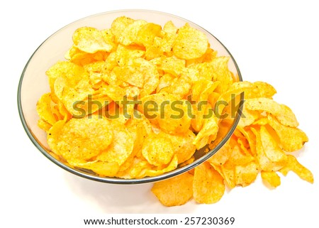 tasty crispy potato chips on white background - stock photo