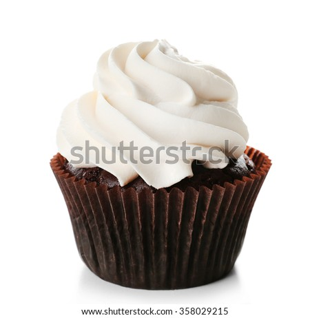 Tasty cupcake isolated on white background - stock photo