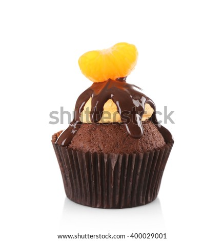 Tasty cupcake with slice of mandarin and chocolate, isolated on white - stock photo