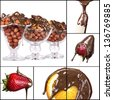 tasty dessert collage - strawberries, orange, banana,nuts with chocolate isolated on a white background - stock photo