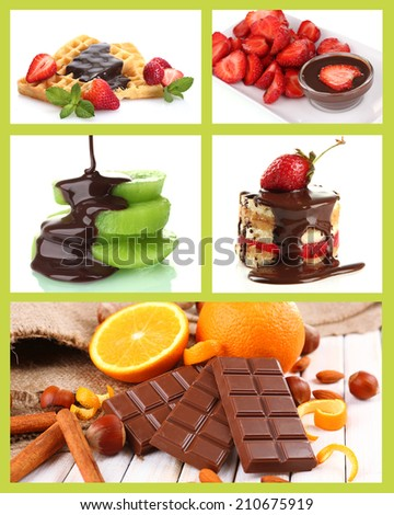 Tasty dessert collage with fruits and chocolate - stock photo