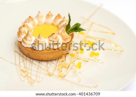 tasty dessert on white plate  - stock photo