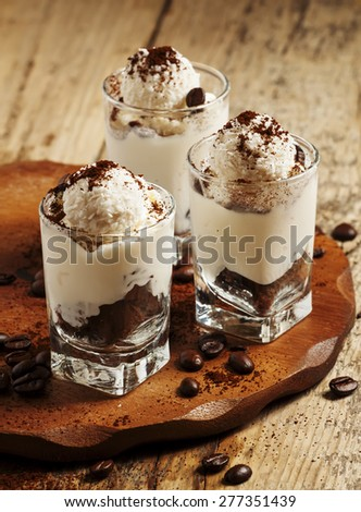 Tasty dessert with ice cream, chocolate and coffee, selective focus - stock photo