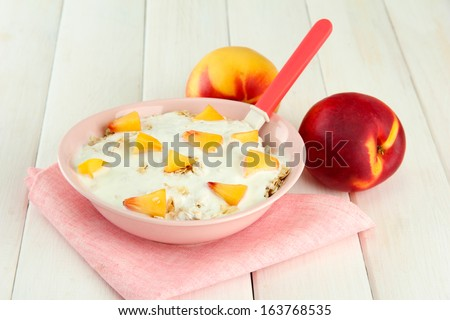tasty dieting food, on wooden table - stock photo