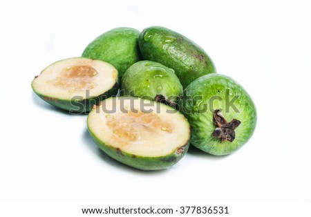 tasty feijoa isolated on the white background.