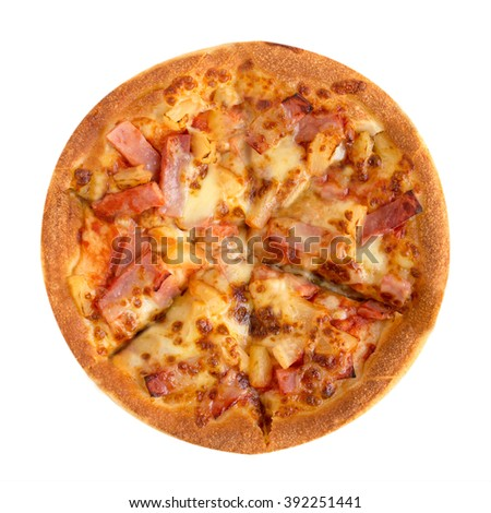 Tasty flavorful pizza isolated on white background - stock photo