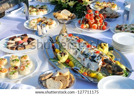 Tasty food on the table - stock photo