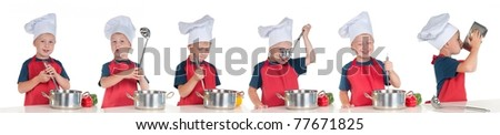 Tasty food preparation stages/ phases by young chief cook - stock photo