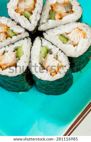 Tasty food. Sushi Roll background. - stock photo