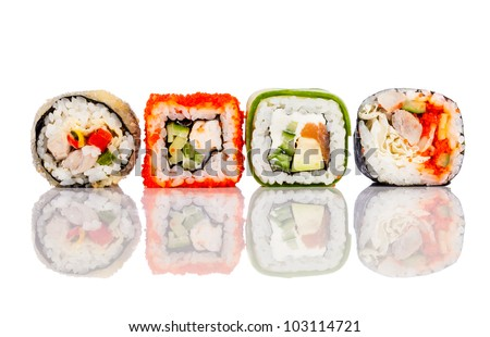 Tasty food. Sushi Roll on a white background - stock photo