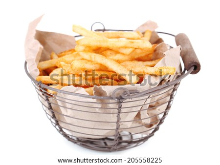 Tasty french fries in metal basket, isolated on white - stock photo