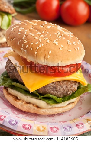 Tasty fresh cheeseburger - stock photo