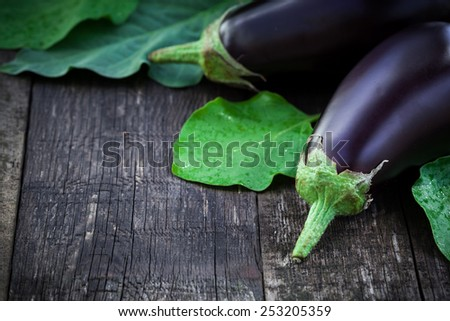 Tasty fresh eggplants on old wooden table, autumn harvest. - stock photo