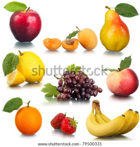 Tasty fresh fruit and berries. An apple, a pear, a peach, an apricot, grapes, a strawberry, an orange, a lemon. - stock photo