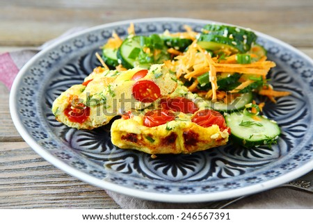 Tasty fritatta with vegetables, food - stock photo