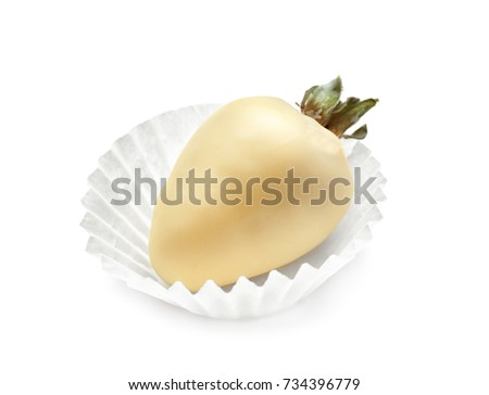Tasty glazed strawberry on white background
