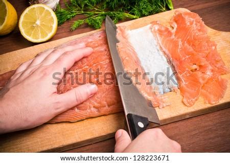 Tasty Gravlax during the preparation - stock photo