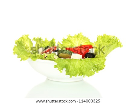 tasty greek salad isolated on white