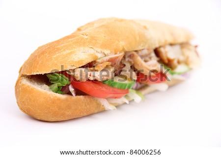 Tasty gyros baguette - stock photo