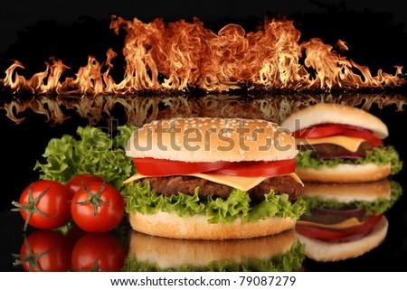 Tasty hamburger - stock photo
