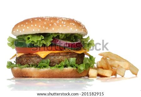Tasty hamburger and french fries isolated on white - stock photo