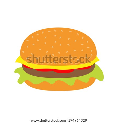 Tasty hamburger icon with meat, tomato, salad and cheese.  Rasterized copy - stock photo