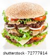 Tasty hamburger on white background. - stock photo