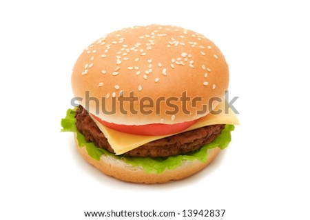 Tasty hamburger on white background