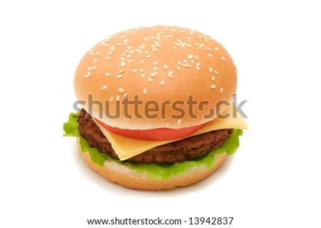 Tasty hamburger on white background - stock photo