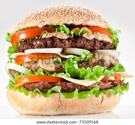 Tasty hamburger on white background. - stock photo