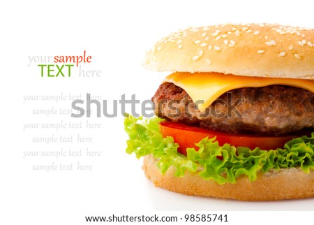 Tasty hamburger on white background - stock photo