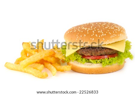 Tasty hamburger with potatoes  isolated on white background