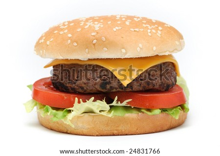 Tasty hamburger with tomatoes and salad isolated on white background