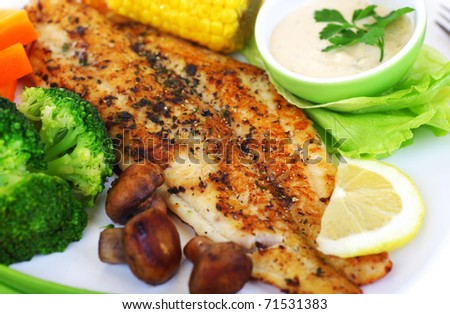 Tasty healthy fish fillet with steamed vegetables - stock photo