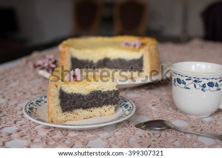 Tasty homemade cheesecake with coffe.