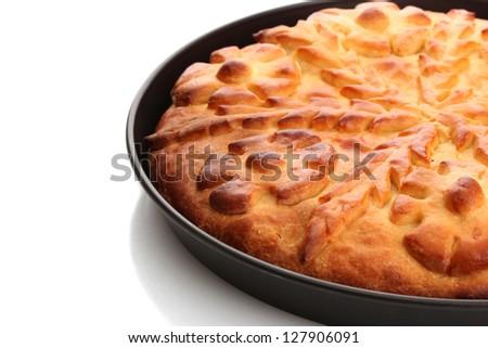 tasty homemade pie, isolated on white - stock photo