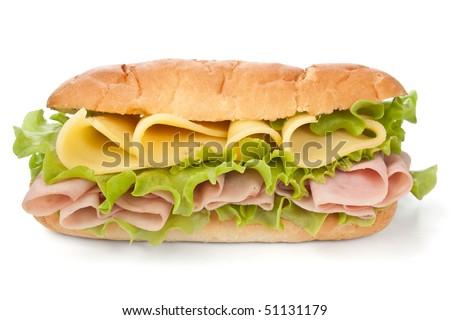 tasty honey roasted ham and cheese sandwich - stock photo