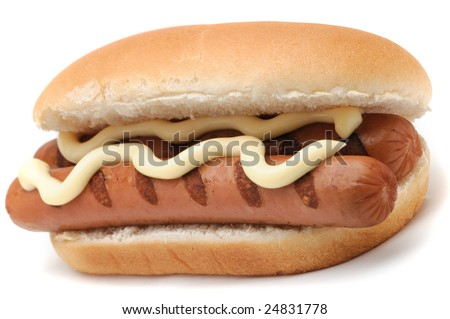Tasty hot dog with mayonnaise isolated on a white background